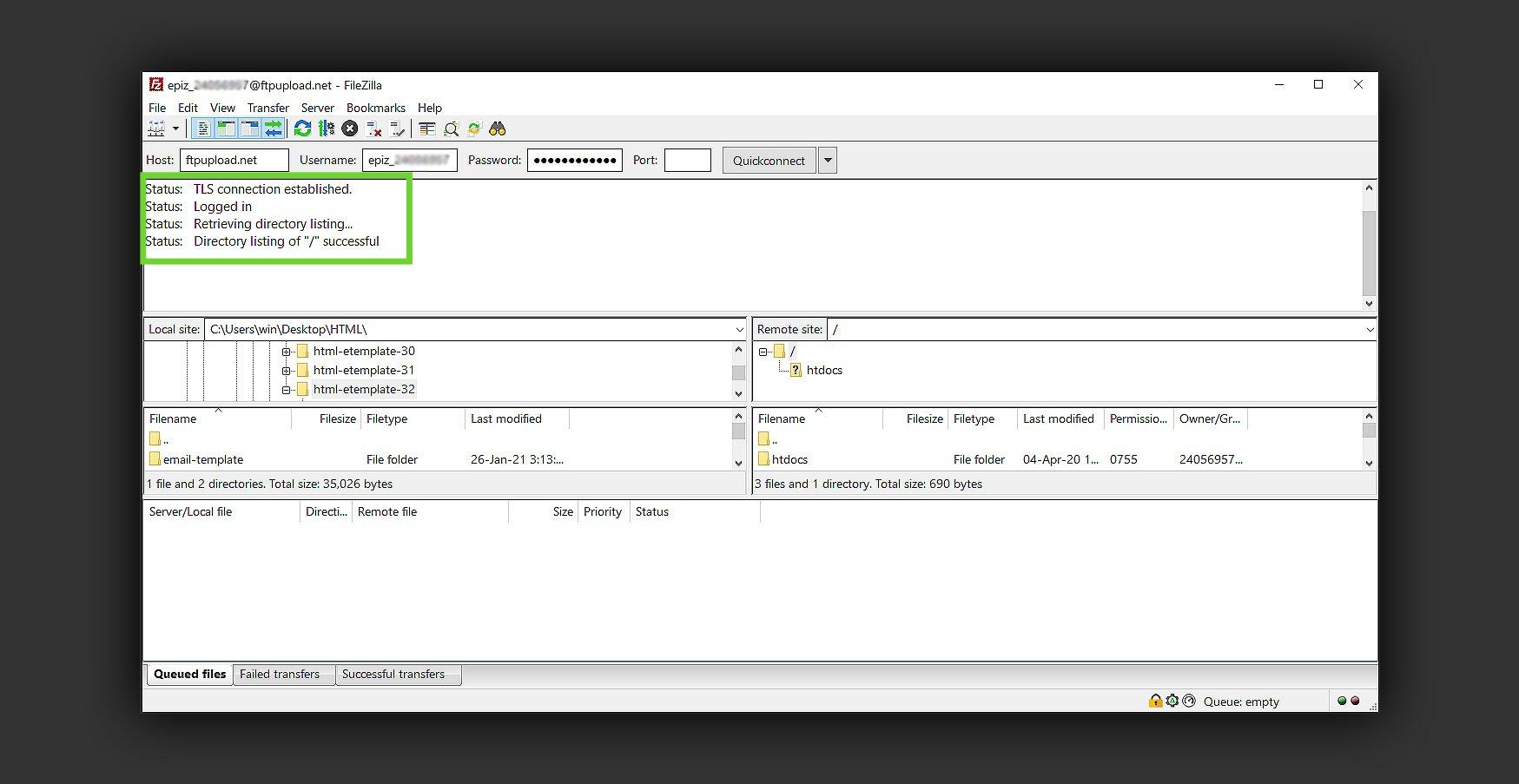 FileZilla host access