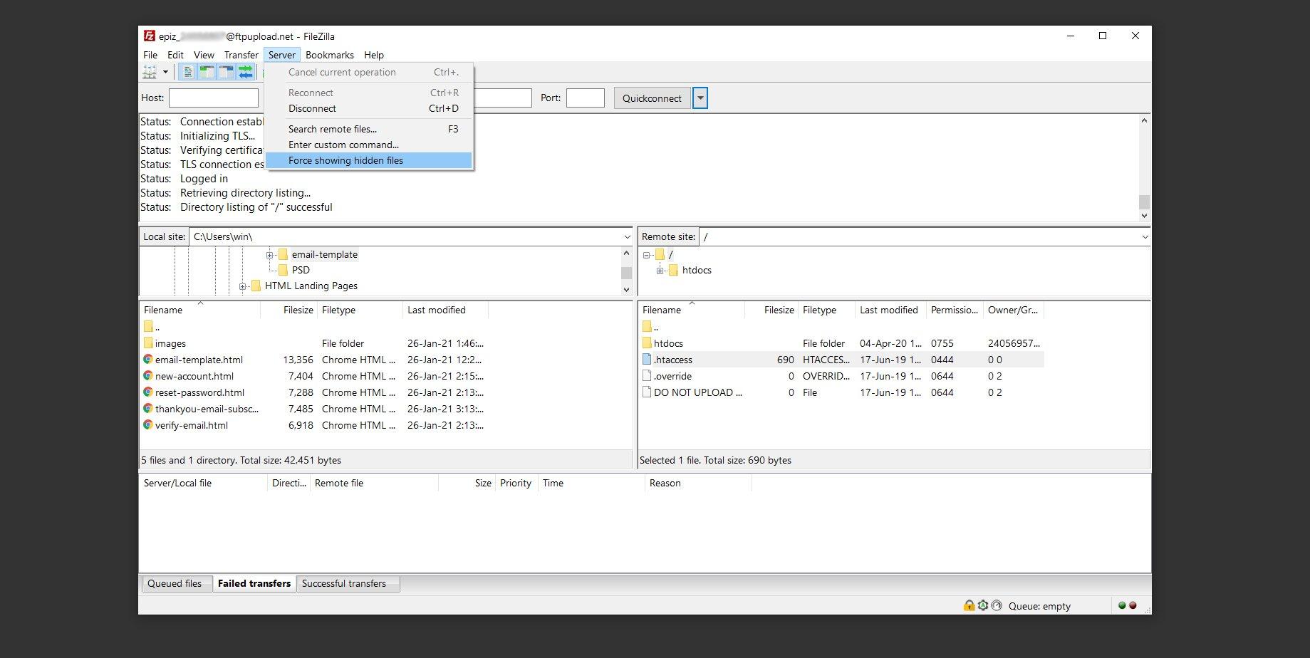 FileZilla show htaccess file