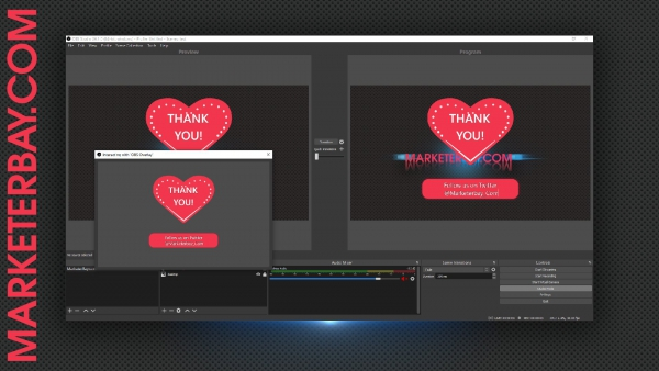Marketerbay.com : OBS overlay with animated SVG heart, Top Tippers and Interact functionality