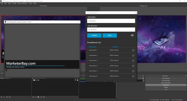Marketerbay.com : OBS Overlay with custom panel and editable content