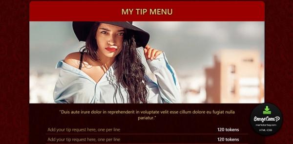 Marketerbay.com : Lorena BongaCams profile design - Tip Menu section